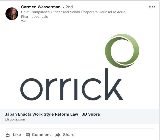 Orrick on LI pharma GC