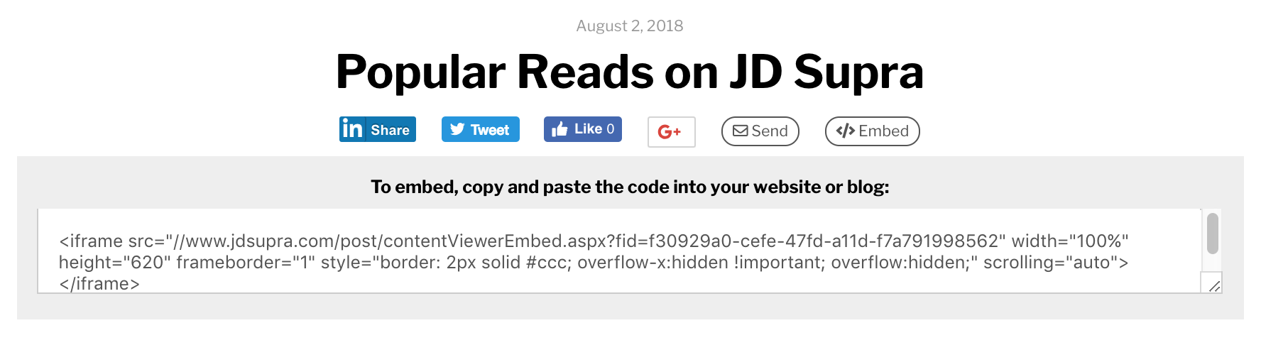 How To: Embed JD Supra Content